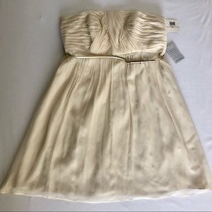 Cream Strapless Dress with Belt  Donna Morgan